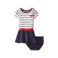 Nautica Baby Girls Stripe Sweater Dress with Solid Drop Needle Skirt Cream 18 Months >>> Click on the image for additional details.