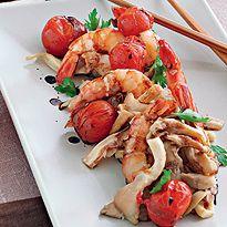 Креветки с помидорами и вешенками. Мастер-класс