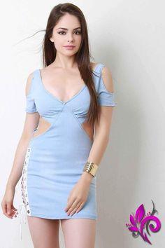 Cold Shoulder Cut Out Lace-Up Denim Mini Dress - Oralia cortes Sexy Dresses, Dress Outfits, Short Dresses, Fashion Dresses, Girls Dresses, The Dress, Dress Skirt, Bodycon Dress, Cute Girl Outfits