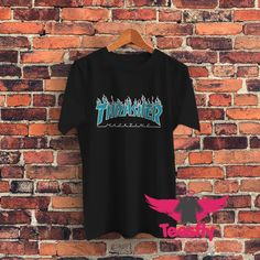Thrasher Flame Blue Personalized T Shirts Cheap //Price: $17.50     #giftideas