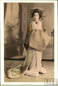 A vintage photography of an actual tayuu