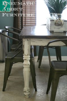 farmhouse dining table mixed with copper industrial chairs