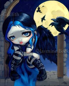 The Whispered Word Lenore the raven Edgar Allan Poe gothic fantasy crow art print by Jasmine Becket-Griffith 8x10 $13.99