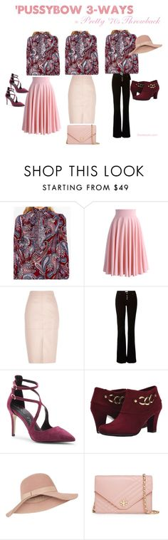 """Pussybow Blouse='70s Throwback"" by twolookbooks on Polyvore featuring Chicwish, River Island, Sole Society, Aerosoles, Accessorize and Tory Burch"