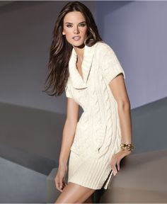 Love this with my new boots...Short-Sleeve Cable-Knit Tunic Sweater