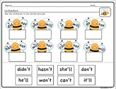 This worksheet is another good practice for contractions. It could help students go from the word parts to the contractions and vis versa. Reading Activities, Literacy Activities, Teaching Reading, Teaching Resources, Teaching Ideas, Reading Strategies, Activity Games, Reading Skills, Educational Activities