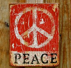 Peace Work Red N' White Peace 8 x 10 X 2 by CarolineJamesFineArt, $115.00