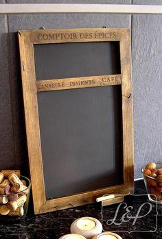 tableau d coratif en bois avec ardoise noire pense b te m mo cuisine tableau m mo. Black Bedroom Furniture Sets. Home Design Ideas