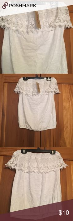 White strapless top White strapless bubble top never worn. American Rag Tops Blouses