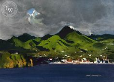 Martinique Harbor, 1978, California art by Hardie Gramatky. HD giclee art prints for sale at CaliforniaWatercolor.com - original California paintings, & premium giclee prints for sale