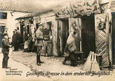German Postcard: The Białystok Ghetto. a World War II Jewish ghetto set up by Nazi Germany in the newly formed capital of Bezirk Bialystok district of German-occupied Poland between July 26 and early August 1941. About 50,000 Jews from the vicinity of Białystok and the surrounding region were herded into a small area of the city.