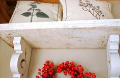 Antique Shabby Chic White Wood Hanging Wall Shelf Mantel Cottage ...
