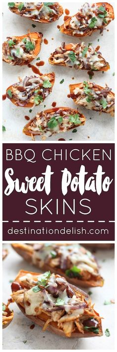 BBQ Chicken Sweet Potato Skins | Destination Delish – A healthy appetizer recipe that packs all the amazing flavors of BBQ chicken pizza into sweet potato skins