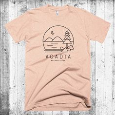 Acadia T-shirt, Maine T-shirt, Acadia National Park, Hipster Modern T-shirt, Camping T-shirt, National Park Tees Gift, Jordan Pond Tee by CityandSky on Etsy https://www.etsy.com/listing/279534254/acadia-t-shirt-maine-t-shirt-acadia