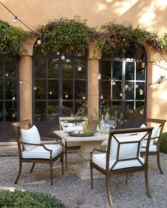 Alexandra Outdoor Urn Pedestal Table & Sophia Dining Chairs at Neiman Marcus.