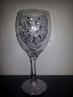 Snowflake glittered glass