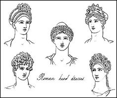 These are drawings of Roman hairstyles and headdresses worn by women after the 1st century A.D.