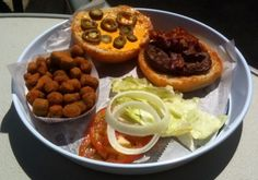 Burger with my custom toppings and fried okra