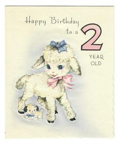 Vintage UNUSED BIRTHDAY Greeting Card Lamb with Toy Dog for a 2 Year Old 1940's Unsigned