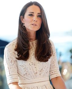 Kate Middleton wears a white Zimmerman eyelet dress to the Sydney Royal Easter Show Kate Middleton Pictures, Kate Middleton Hair, Prince William And Catherine, Prince William And Kate, Duchess Kate, Duchess Of Cambridge, Kate Middleton Prince William, Eyelet Dress, Eyelet Lace