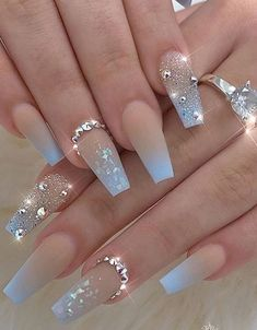 20 Elegant Acrylic Blue Nails Design For Coffin and Stiletto Nails - Easy Nail Designs 💅 Blue Ombre Nails, Blue Acrylic Nails, Summer Acrylic Nails, Gold Nails, Coffin Nails Ombre, Blush Nails, Brown Nails, Wedding Acrylic Nails, Summer Nails