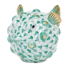 Herend Puffer Fish Figurine Green Fishnet handmade and hand painted made from the finest porcelain available at Herendstore. Cold Porcelain Jewelry, Fine Porcelain, Painted Porcelain, Hand Painted, Scully And Scully, Glass Figurines, China Painting, Fenton Glass, Chinese Antiques