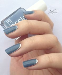 Loving This Blue Nail Color with Silver Trim!--