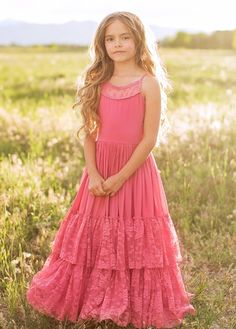 Look effortlessly elegant and playful all at once with this boho maxi dress featuring a full tiered skirt with lace ruffles and a scalloped lace detail in the back. This dress is perfect for twirling on fall days. Girls Maxi Dresses, Little Girl Dresses, Cute Dresses, Beautiful Dresses, Fashion Dresses, Flower Girl Dresses, Little Girl Clothing, Girls Designer Dresses, Awesome Dresses