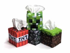 Minecraft Inspired Tissue Box Cover... Ginger, Millie-Bug needs these...hahahaha