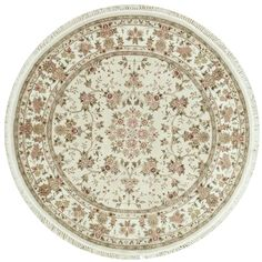 This beautiful Handmade Knotted Round rug is approximately 7 x 7 New Contemporary area rug from our large collection of handmade area rugs with Persian Tabriz style from China with Wool/Silk