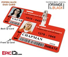 Orange is the New Black Inspired Litchfield Penitentiary Inmate Wearable ID Badge - Piper & Alex Reversible Duo ID