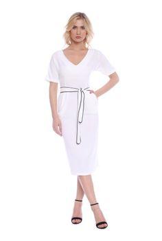 Rochie alba cu buzunare RB-217112109 -  Ama Fashion Dresses For Work, Fashion, Moda, Fashion Styles, Fasion