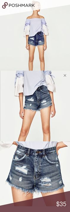 Zara High Waisted Shorts Super cute high waisted denim shorts. Again... I have this habit of ripping tags off THINKING they're my size & when I try it on... it's too small & too late. ONLY WORN ONCE TO TRY ON! Never worn out!! True blue color! Will match with anything you wear! Comes from nonsmoking pet free home! WILL SHIP NEXT DAY OF PURCHASE!! Zara Shorts Jean Shorts