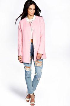 Boohoo Aileen Textured Wool Look Boyfriend Coat on shopstyle.com