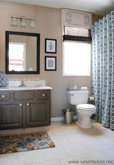 Easily Revitalize Your Bath By Mixing In Bold Patterns Rich Woods And Antique Glware Bathroom Decor The Pinterest