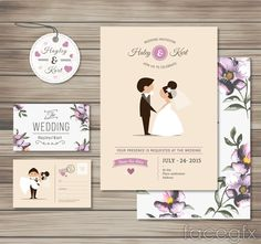 3 purple wedding card vector