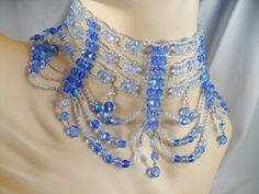 ON SALE! Runway Choker of Blue Aurora Borealis (AB) Crystals by MarlosMarvelousFinds, $39.99