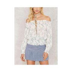 White Off Shoulder Floral Leaves Print Blouse ❤ liked on Polyvore featuring tops, blouses, flower print tops, white tops, floral tops, floral off the shoulder top and white off the shoulder blouse