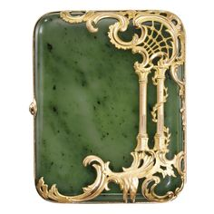 Marie Poutine's Jewels & Royals: The Lost Treasures of the Grand Duchess Vladimir, Part IA Faberge nephrite cigarette case with jeweled two-color gold mounts, by workmaster Michael Perchin, St. Petersburg, circa 1890.