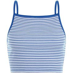 Blue Stripe Ribbed Shoestring Crop Top (40 SEK) ❤ liked on Polyvore featuring tops, crop top, shirts, clothes - tops, stripe crop top, crop tops, blue striped shirt, cropped shirts and blue striped top