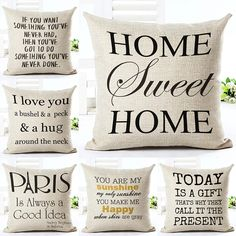 Love Letter Printed Linen Cotton Square European Home Decor Houseware Bed Cushion Cover Throw Pillow Covers Cojines Almohada Patio Pillows, Printed Cushions, Printed Linen, Cushions On Sofa, Decorative Pillow Cases, Throw Pillow Cases, Pillow Covers, Throw Pillows, Linen Sofa