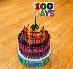 "I call this ""Crayon Cake""- made of 100 crayons.  I personally made it for my kindergartener's 100 days in school."