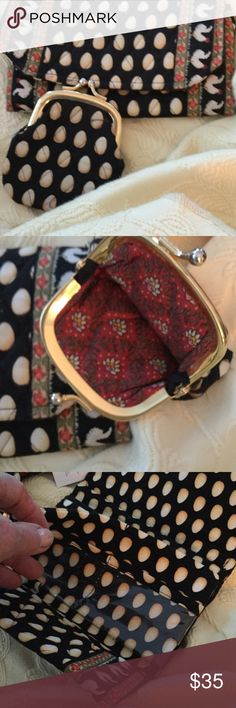 """Vera Bradley twosome Small change purse, lined. Small purse with room for everything. Velcro closure. 1st, dollar section, 2 plastic slots for license and other, 1nd section, 6. Are slots, zipper section, more dollar section, NEW 7x4.5"""" Vera Bradley Bags Clutches & Wristlets"""