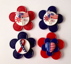 Patriotic  Retractable badge holders for nurses made from colorful recycled medicine vial caps