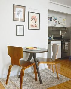 Tripod Bistro Table + Stackable Chairs + Jute Chenille Herringbone Rug from west elm