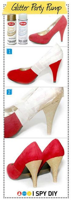 DIY glitter party pump GET $5 SHOES FROM RUBI AND MAKE THEM SPARKLE!!