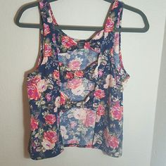 Adorable Floral Bow Back Top Beautiful floral print with 3 cute bows on the back. Shirt is in excellent condition. No holes, stains, fading, or shrinking. Brand tag was cut off so I'm not sure what it was. Fits a small/medium. 97% polyester 3% spandex. Tops Tank Tops