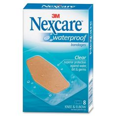 Bandages stays on your skin in water and keep water and germs out. Designed for knees and elbows. Nexcare Waterproof Bandage