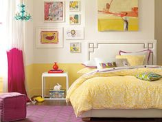 Design Ideas for Teen Rooms perfect shade of yellow with a little extra color ....like it