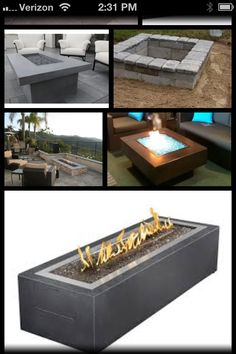 Google - rectangle fire pit